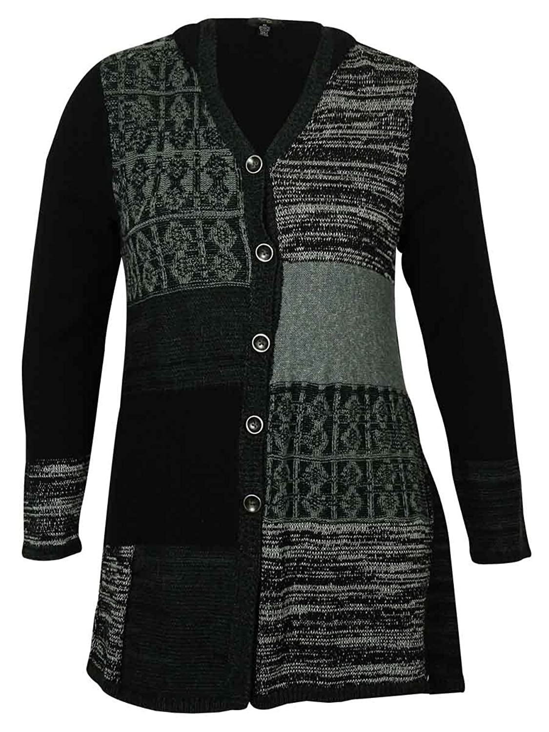 Style & Co Women's Patchworked Button-Down Sweater (Grey Combo, L)
