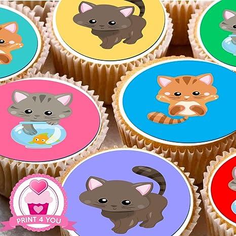 24 gatos coloridos ND3 gatitos decoración para tartas 4 cm ...