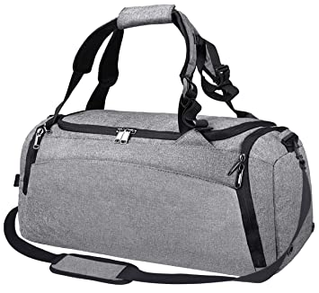 bc4f3428c Amazon.com | Gym Duffle Bag Waterproof Travel Weekender Bag for Men Women Duffel  Bag Backpack with Shoes Compartment Overnight Bag 40L Grey | Sports Duffels