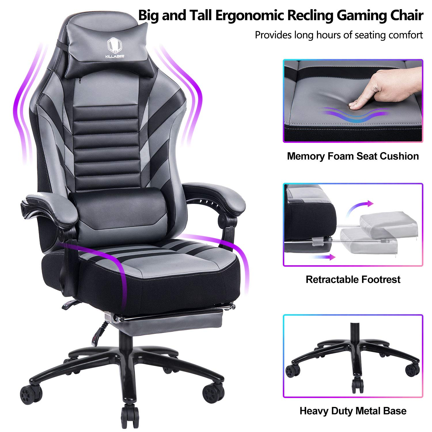 VON RACER Big & Tall 400lb Memory Foam Reclining Gaming Chair Metal Base - Adjustable Back Angle and Retractable Footrest Ergonomic High-Back Leather Racing Executive Computer Desk Office Chair, Gray by VON RACER