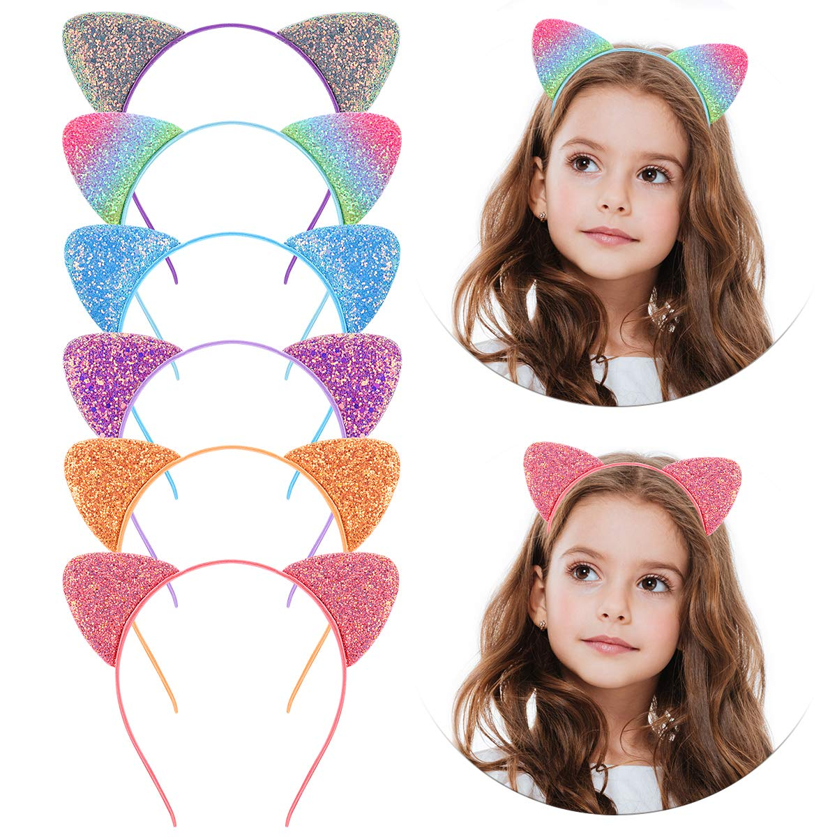 Cat Ears Headband, Glitter Sequin Ear Headbands Metal Hair Hoops for Daily Party, 12Pack