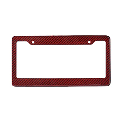 BLVD-LPF OBEY YOUR LUXURY Real 100% Red Carbon Fiber License Plate Frame Tag Cover FF - C with Matching Screw Caps - 1 Frame: Automotive