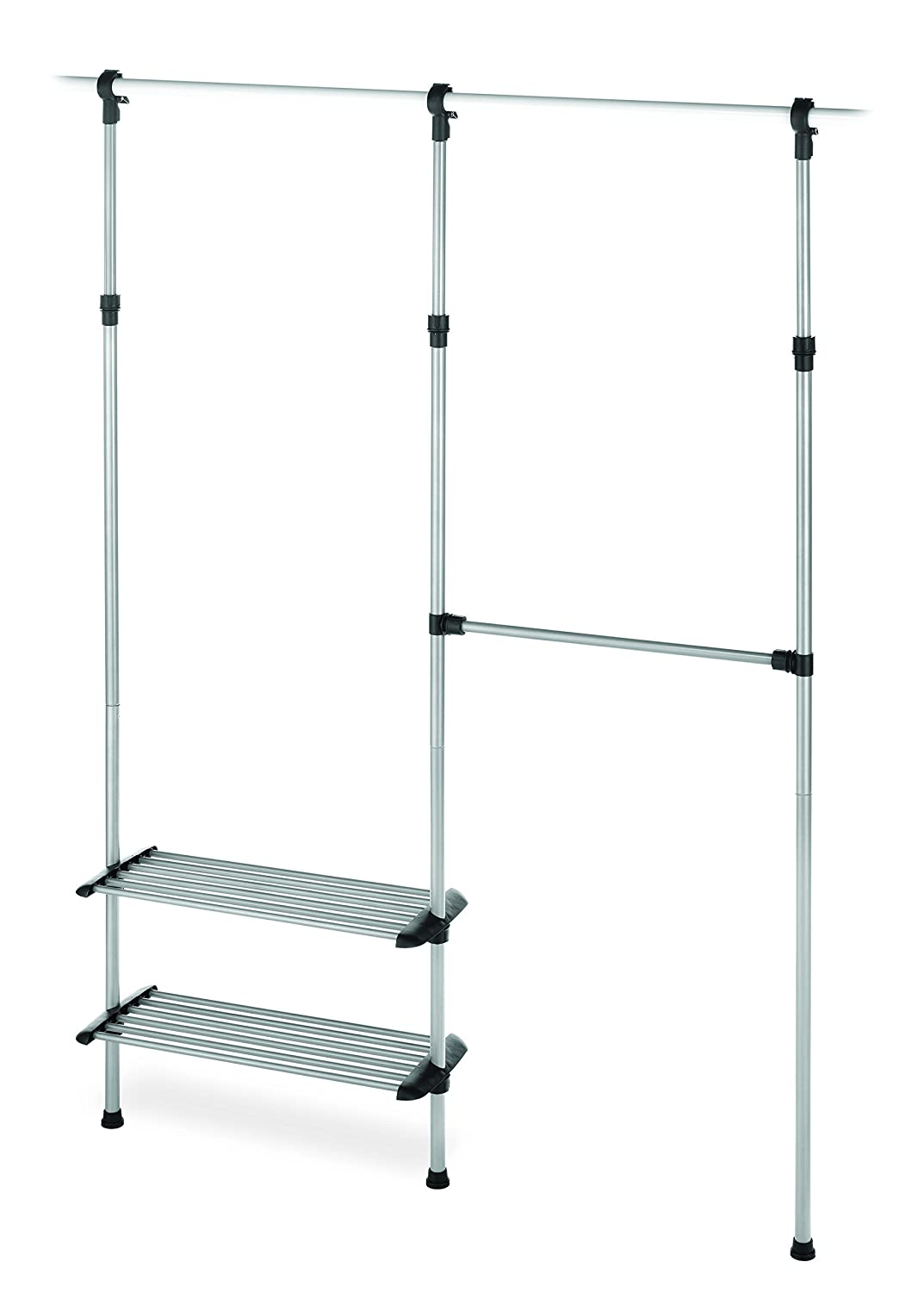 Amazon.com: Whitmor 2 Shelf 2 Rod Closet System   Adjustable Closet  Maximizer: Home U0026 Kitchen