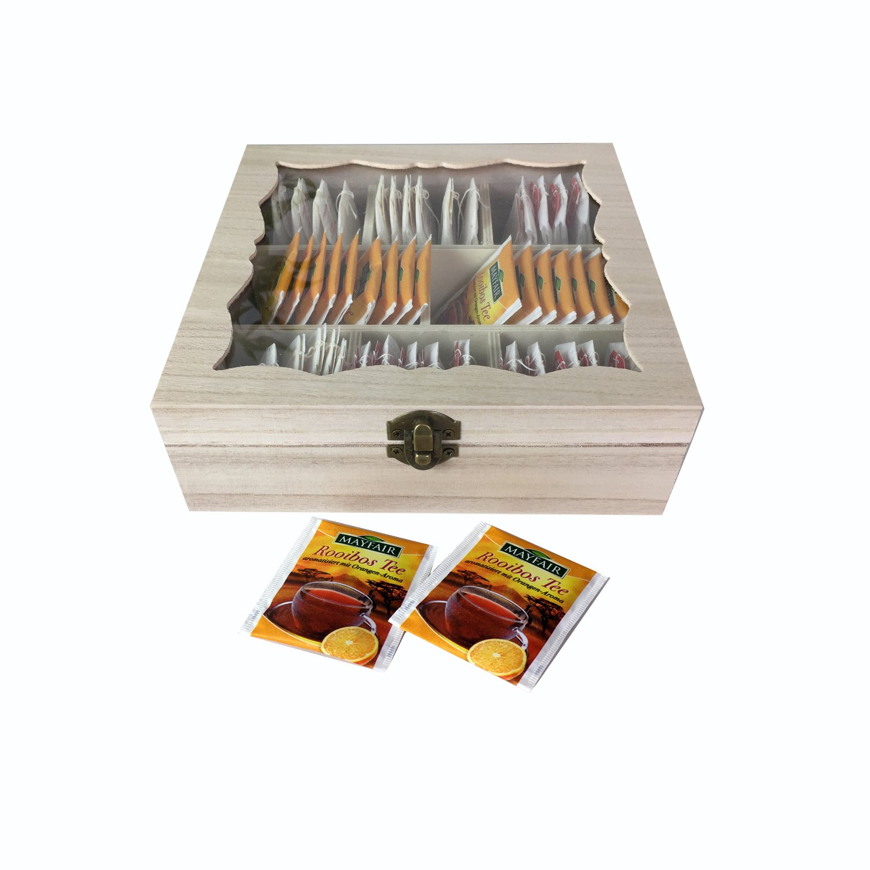 Scatola porta bustine di tè Tè contenitore scatola per tè bustine di tè scatola in legno come un barattolo Barattolo per il tè bustine di tè con vetro decorativo finestra Natura B20X L20X H7cm Mojawo