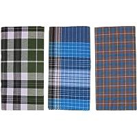 Dhrona COTTON Men's Lungi - 3 Piece (2.10 meter) (100% Pure Cotton) (Export Quality/Skin Friendly) (Multi-Colored)