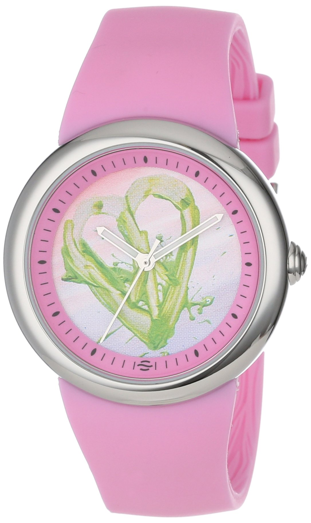 PeaceLove Unisex F36S-PLPC-P  Round Stainless Steel Pink Silicone Strap and ''Ian'' Art Dial Watch