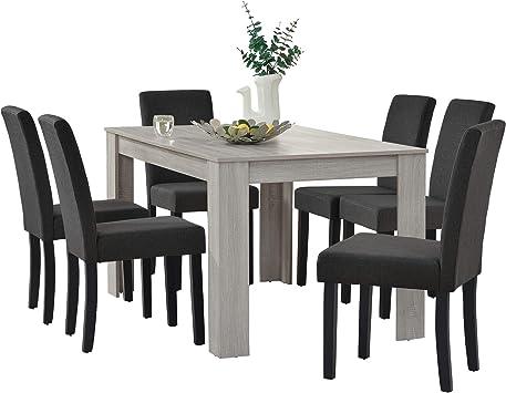 en.casa] Set de Comedor Elegante Mesa de diseño Roble con 6 sillas Gris Oscuro - 140x90cm: Amazon.es: Juguetes y juegos