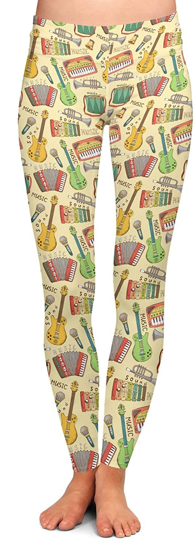 Vintage Musical Instruments Ladies Leggings Personalized