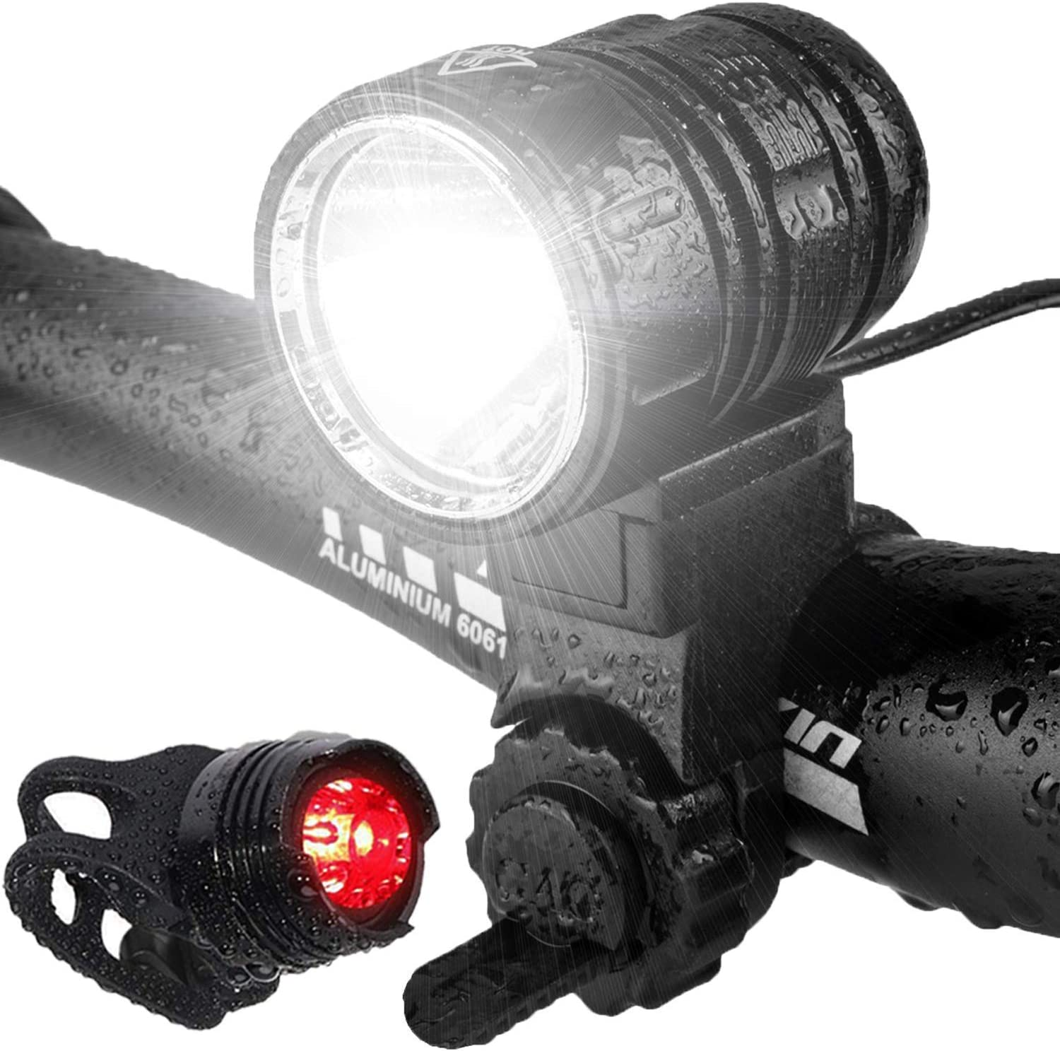 2 Pack USB 1500 Lumens Bicycle Headlight Headlamp with Rubber Band