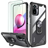 QHOHQ Case for Xiaomi Redmi Note 10/Note 10S(Not fit Note 10 5G) with 2 Pack Screen Protector,[360° Rotating Stand] [Military