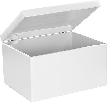 Grinscard Caja Grande de Madera con Tapa para Almacenamiento - Pino Blanco Barnizado - Aproximadamente 40 x 30 x 24 ...