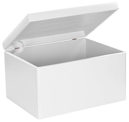 Grinscard Caja Grande de Madera con Tapa para Almacenamiento - Pino Blanco Barnizado - Aproximadamente 40