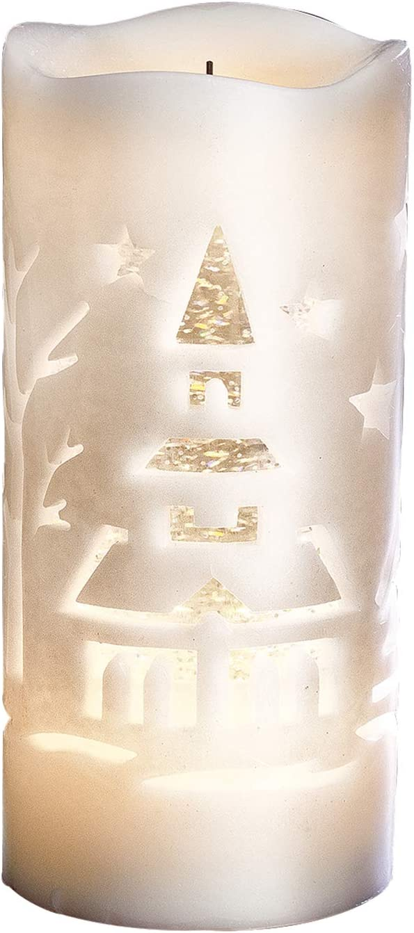 "Roman Christmas - Confetti Lites Lighted Swirl Candle, 8.25"" H, Christmas Collection, Wax, Christmas Giftware, Inspirational, Durable, Long Lasting, Beautifully Detailed"