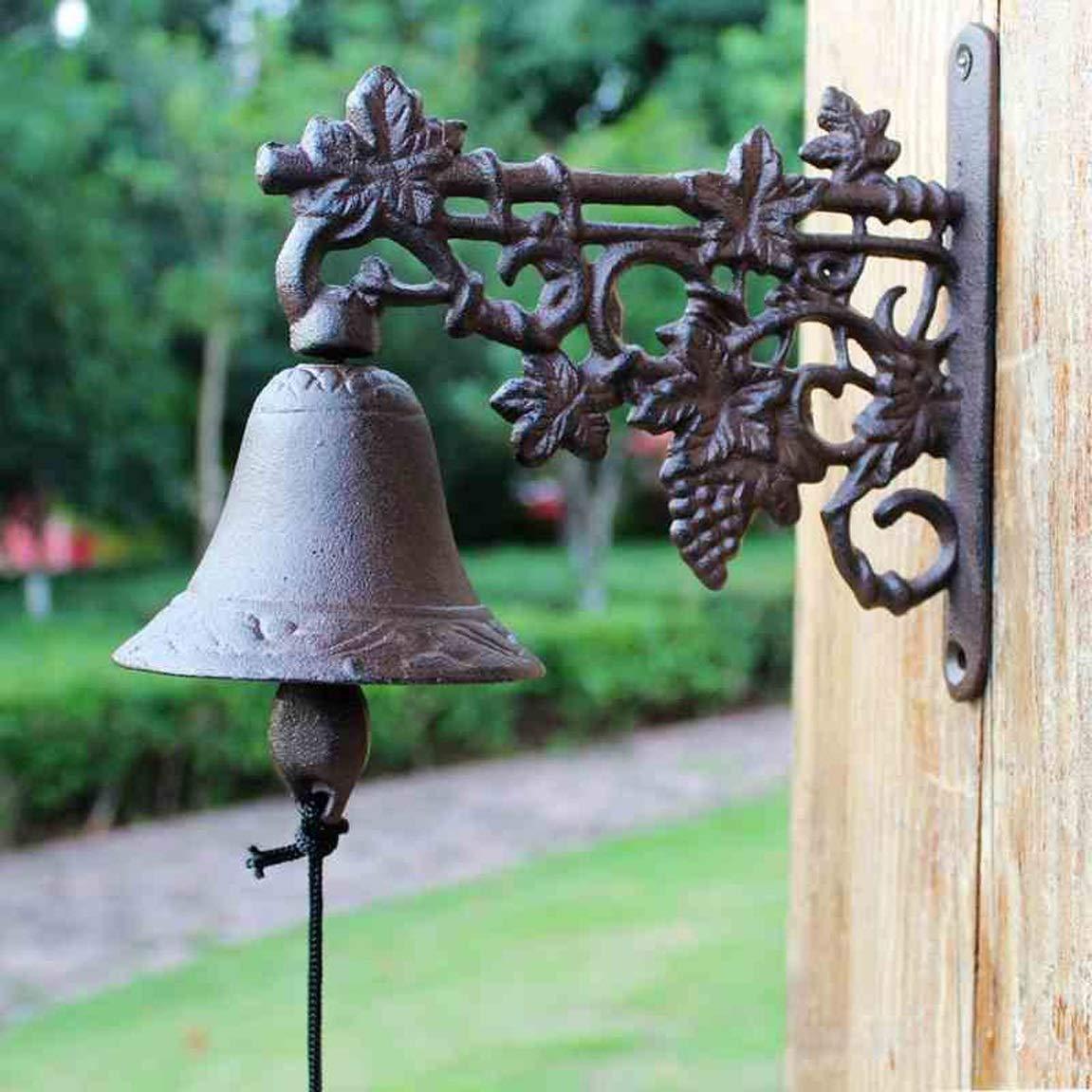 FLYSXP Iron Grape doorbell Nordic Popular Garden Wrought Iron Decorative doorbell Hand Bell Wall 23.8x10.5x20.5cm Vintage doorbell