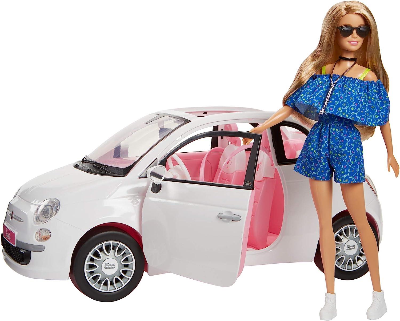 Barbie - Coche muñeca Fiat - coche muñeca, para niñas y niños de más de 3 años (Mattel FVR07)