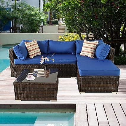 Amazon.com: Muebles de jardín de ratán sofá al aire libre ...
