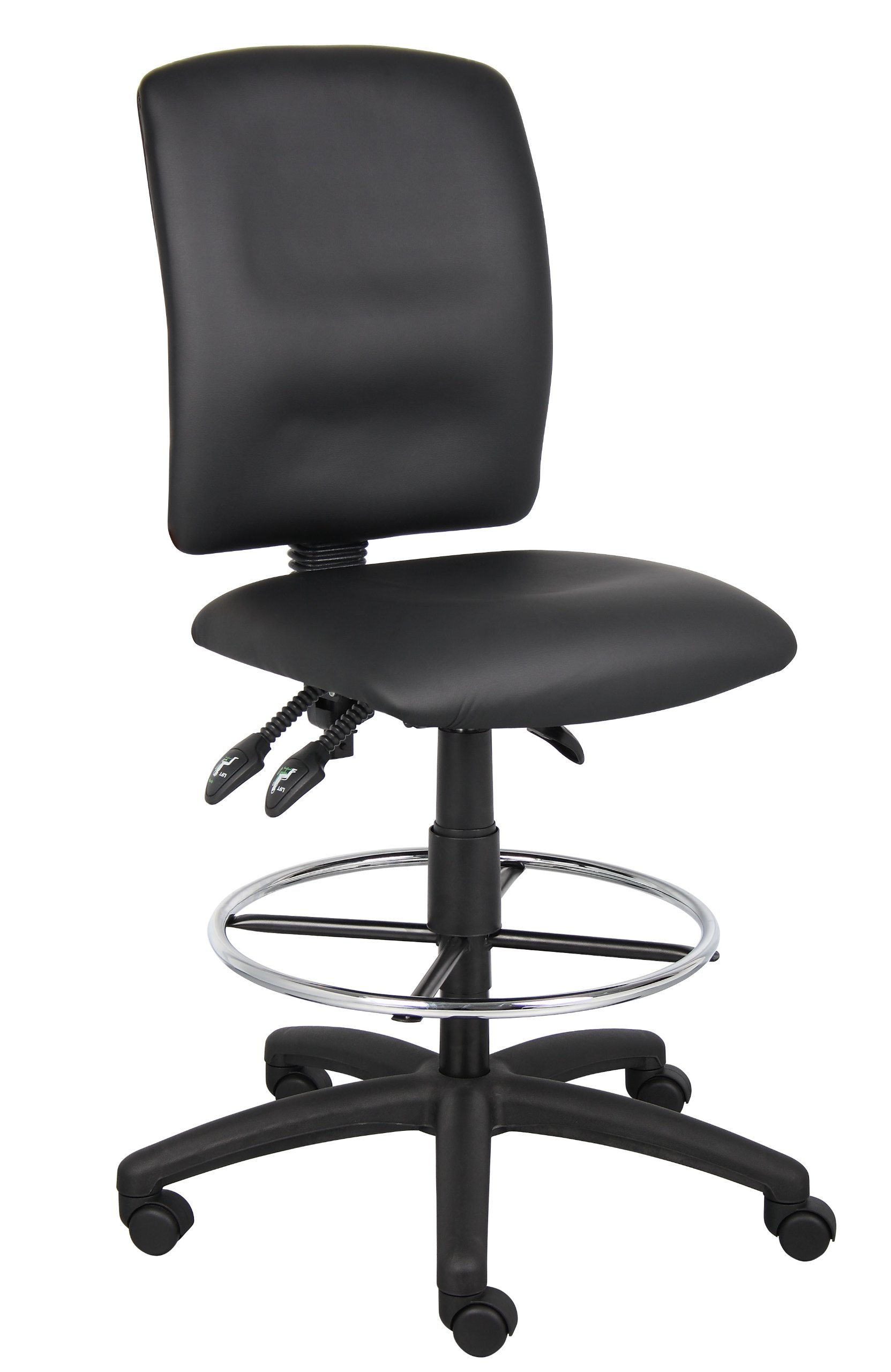 Boss Office Products B1645 Multi-Function LeatherPlus Drafting Stool without Arms in Black