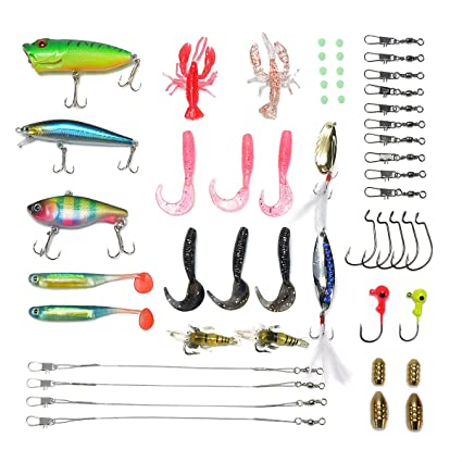 aac18b6b9 Amazon.com   Supertrip Fishing Lures kit-Crankbaits Soft Lures Hard Baits  Topwater Lures Kit Bass Fishing Tackle Box and More Fishing Gear Lures Kit  Set ...