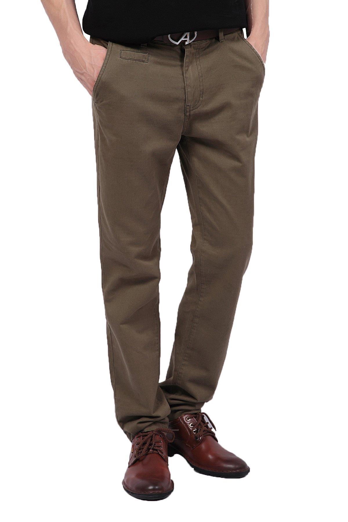 Pau1Hami1ton PH-03 Men's Chino Pants Flat-Front Casual Kaki Twill Slim-Fit Straight Leg(29, Green)