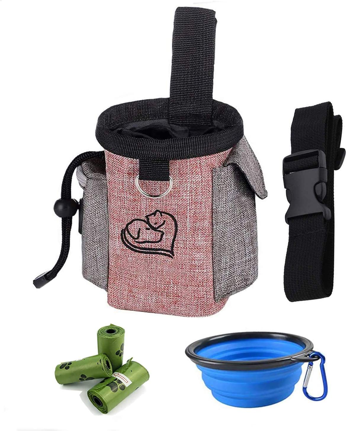 Dog Treat Bag - Training Pouch for Dogs with Collapsible Food Bowl - Pet Training Bag with Adjustable Waist Strap and 3 Rolls Poop Bags - Food Snack Kibble Storage Holder Walking with Dogs