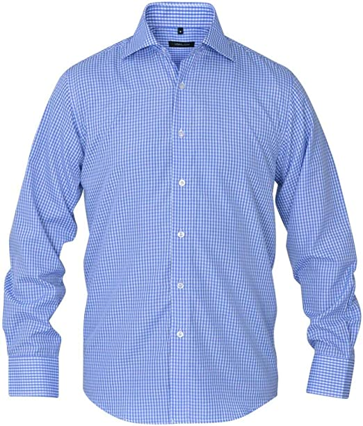 Tidyard Camisa de Vestir de Hombre a Cuadros Hombre Camisa Manga Larga Slim, Blanca y Azul Claro S: Amazon.es: Hogar