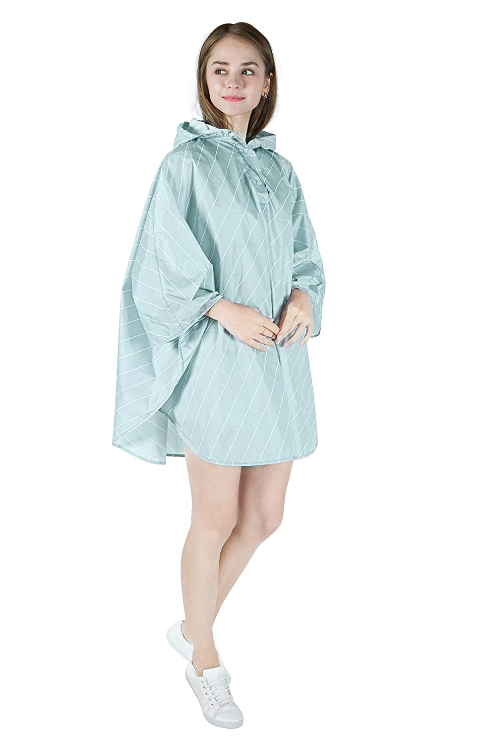 Aircee Lady's Kid rain Coat Hooded Waterproof Raincoat Poncho Packable Batwing Sleeve Adult Blue)