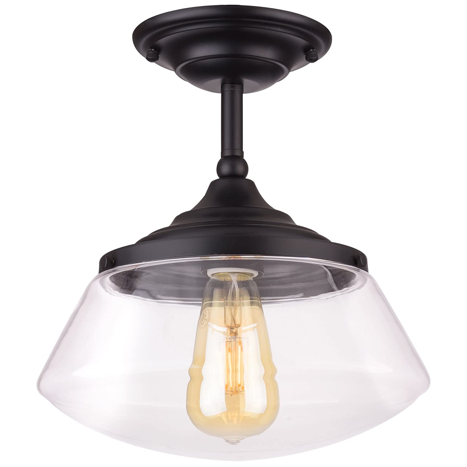 "Kira Home Summit 10"" Industrial Semi Flush Mount Ceiling Light + Schoolhouse Glass Shade, Matte Black Finish"