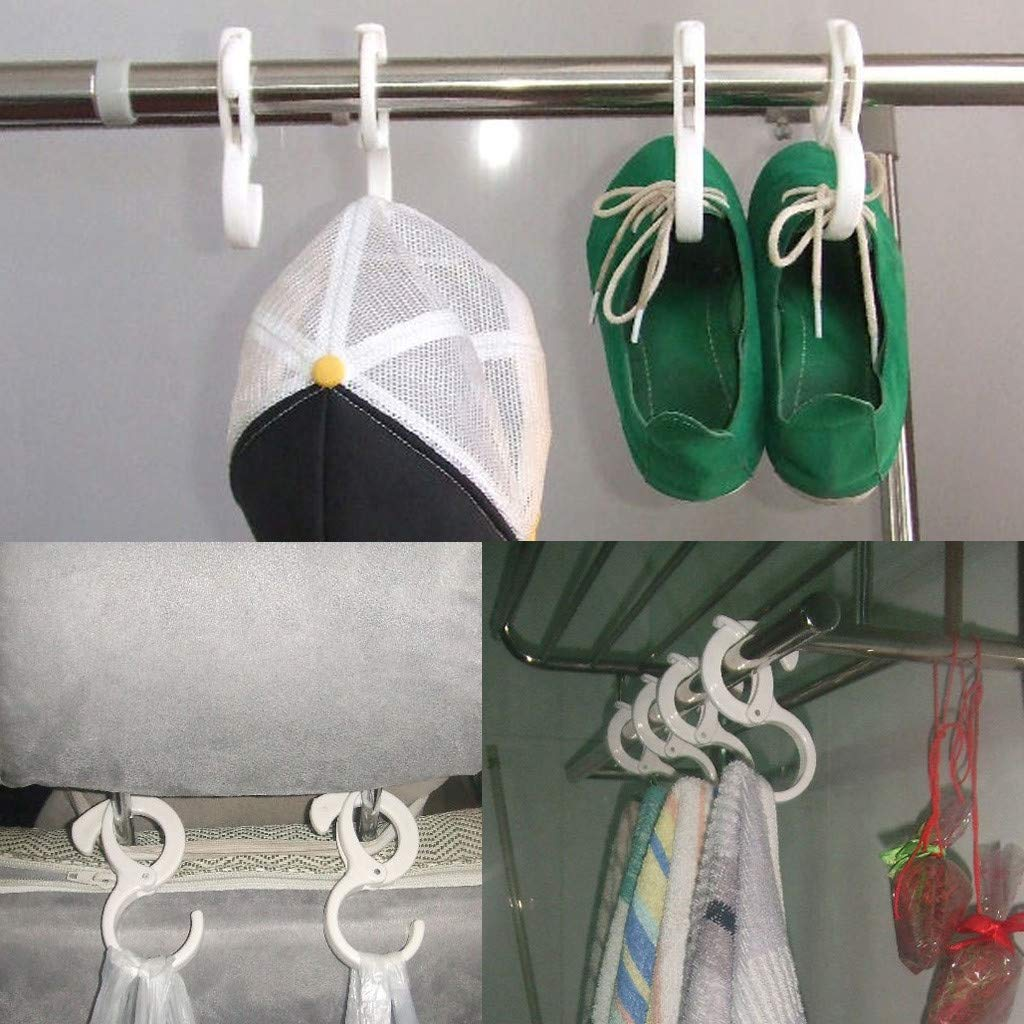 2Pcs Plastic S Shaped Hooks Latch Hanging Towel Slipper Hat Clothes for Closet Kitchen Bathroom