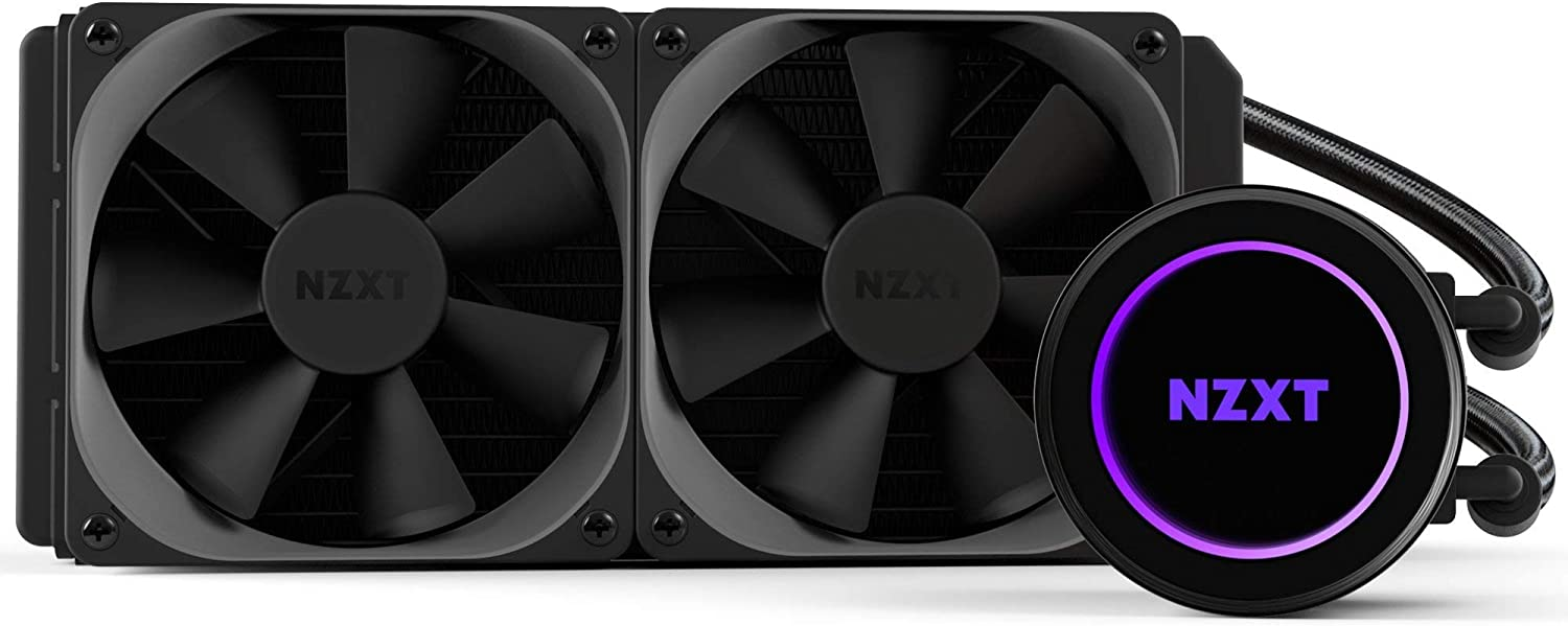 NZXT Kraken X52 240mm - All-In-One RGB CPU Liquid Cooler - CAM-Powered - Infinity Mirror Design - Reinforced Extended Tubing - Aer P120mm Radiator Fan (2 Included) (Renewed)