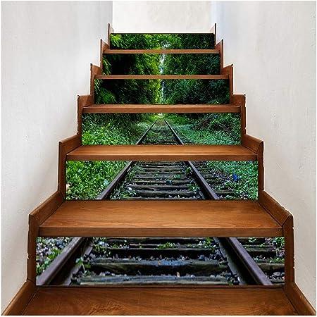 SERFGTFH Pegatina De Escalera Atardecer Pasos Adhesivo Removible De Espejo De Plata Decoracion DIY Pegatinas: Amazon.es: Hogar