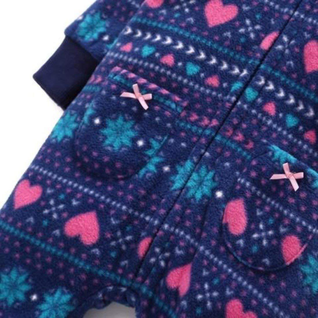 E-Day Essentials Autumn Winter Infant Toddler Girls Polar Fleece Thicker Warm Hooded Romper