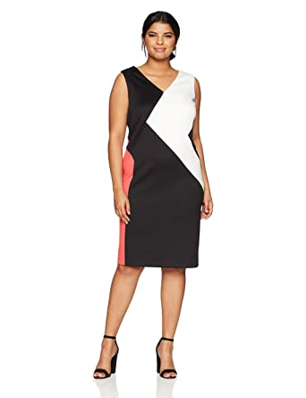 Calvin Klein Womens Plus Size 3 Colorblock Dress At Amazon Womens