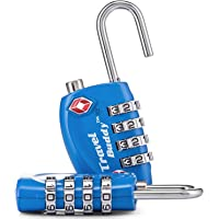 2 x Travel Buddy TSA Sicherheit Zahlenschloss - 4-Ziffern Kombination Reisekoffer - Reisetasche - Gepäckschloss - Vorhängeschloss (SCHWARZ) - LEBENSLANGE GARANTIE
