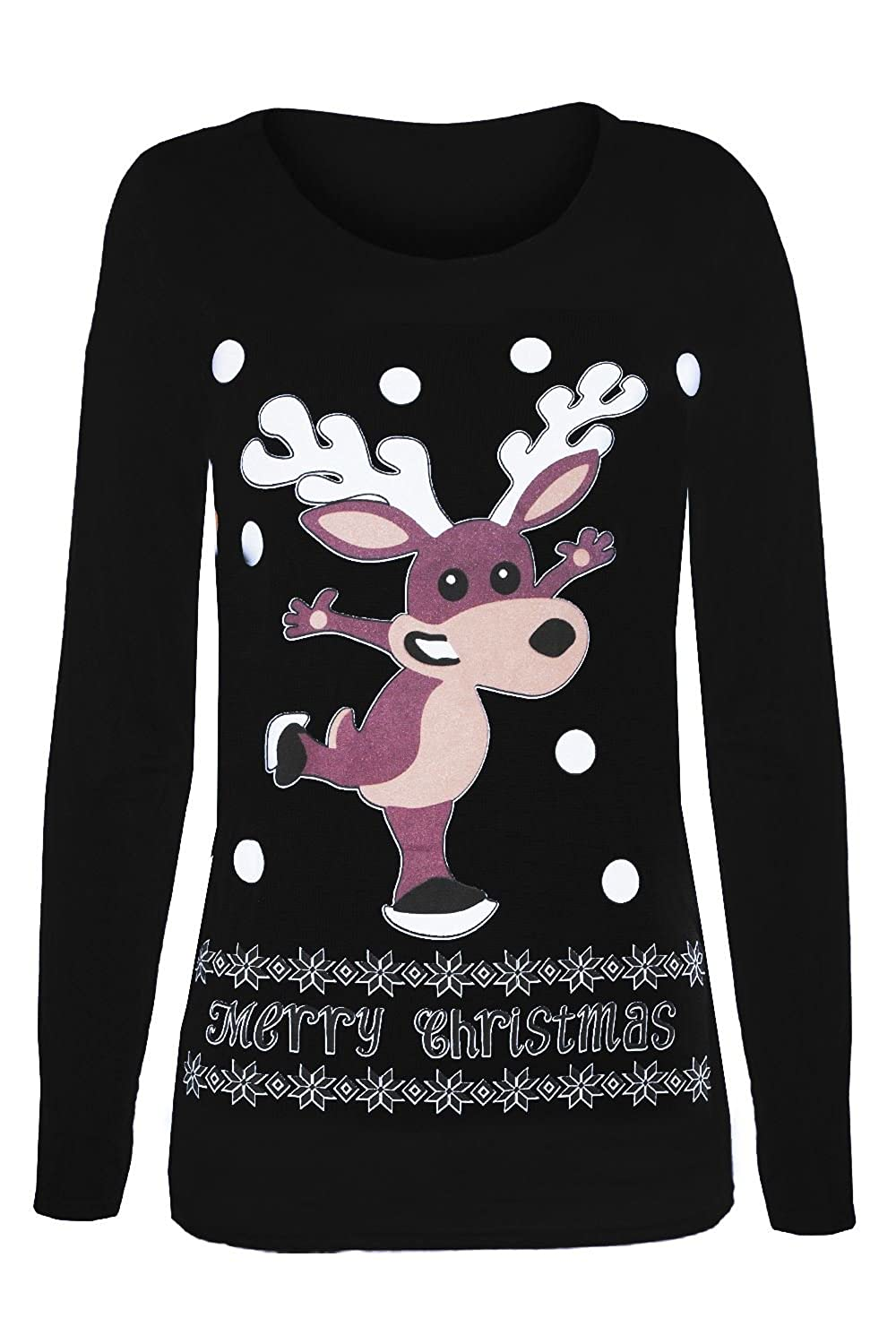 f75b8b4c220 Fashion Star Womens Xmas T Shirts Ladies Reindeer Glitter Nose ...
