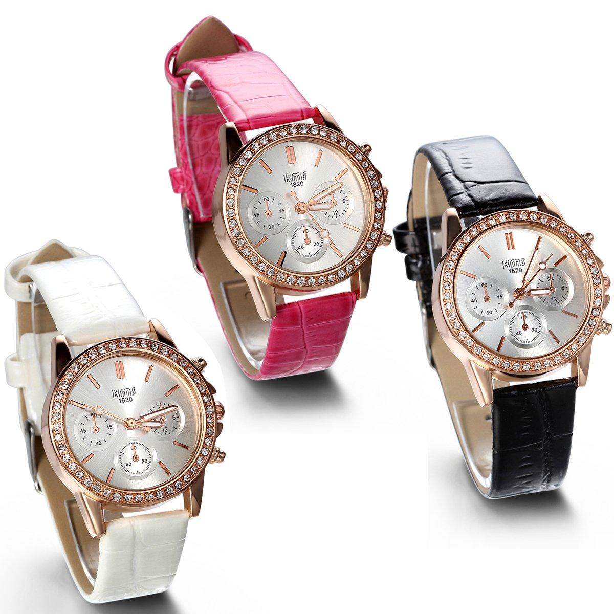 JewelryWe 3pcs Mujer Lujo Redondo Rhinestones Decoración de dos botón falsos 6 correa de piel Relojes de mano para mujer: Amazon.es: Relojes