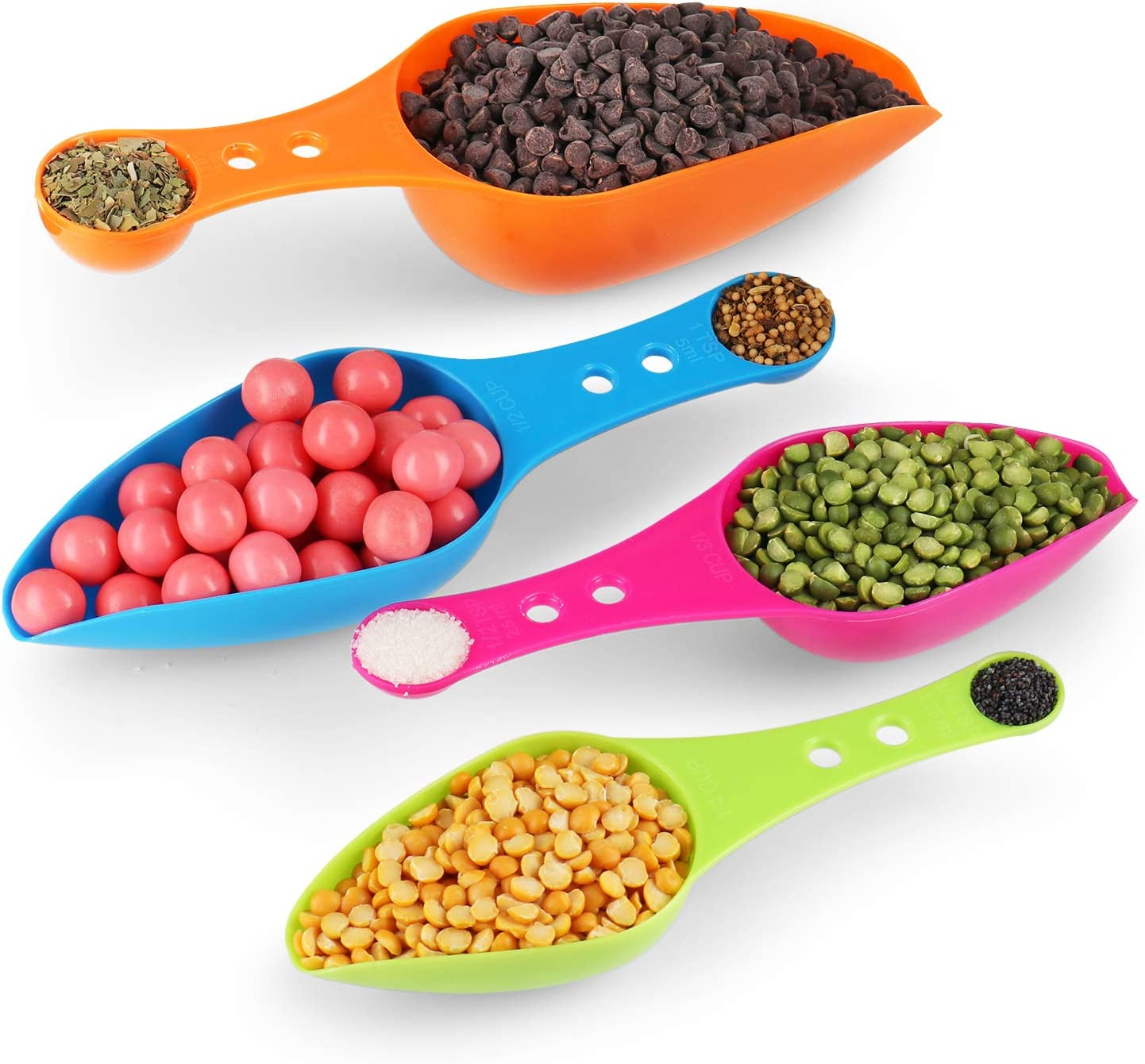 Pack of 4 – 2 in 1 Scoop & Measuring Spoons Set – Plastic Scoops for Canisters with Measuring Spoon – Colorful Food Scoop & Measuring Spoons Set – Great for Measuring Dry and Liquid Ingredients