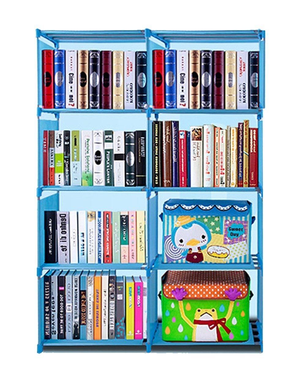 Flyerstoy 8-Cubes Bookcase,DIY Adjustable Cabinet Bookshelf,Kids Office Bookshelf Closet Shelf Home Furniture Storage