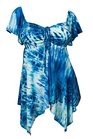 faa23698eab eVogues Plus size Deep V-neck Asymmetric Slimming Top Blue Sublimation  Print - 1X