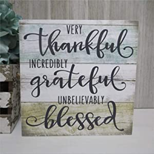 Very Thankful Incredibly Grateful Wood Sign,Unbelievably Blessed Christian Fall Tiered Tray Wood Wall Decor Sign, Wooden Plaque Art for Home,Office,Gardens, Coffee Shop,Porch, Gallery Wall.