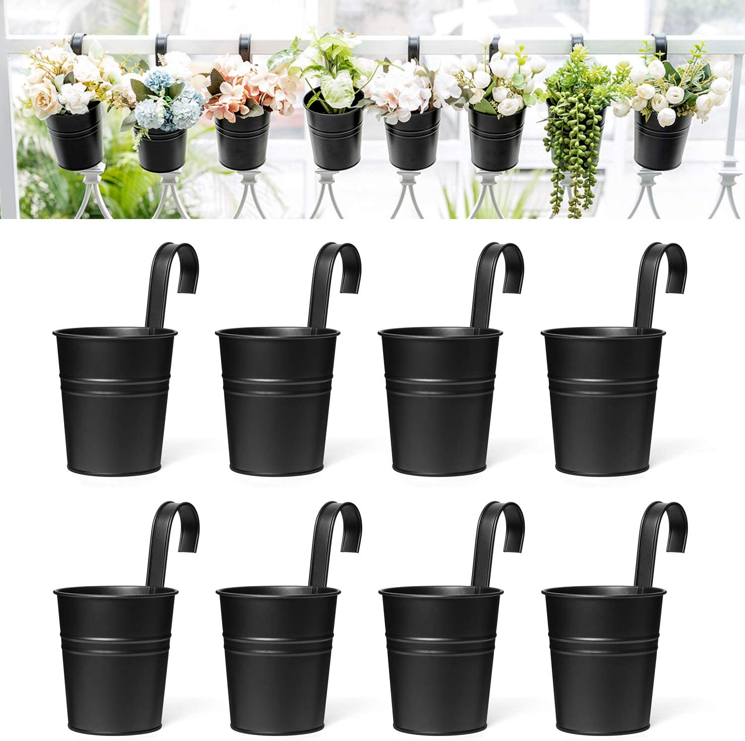 Dahey 8 Pcs Hanging Flower Pots Metal Iron Bucket Planter for Railing Fence Balcony Garden Home Decoration Flower Holders with Detachable Hooks, Black, 4 Inches