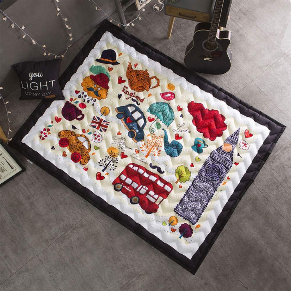 Baby Krabbeln Matte Verdicken Vier Jahreszeiten Spielmatte Carpet Kind Game Pad Decke Picknick Matte, Unterhaltung, Rutschfeste, Weißhe 145  195 Cm,E A