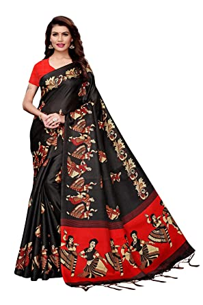 e6d1b2a96f Traditional Fashion Khadi Saree With Blouse Piece(Kathak Catalog_Black_Free  Size)