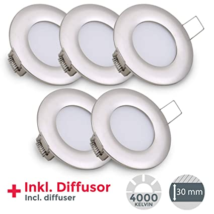 LED Einbauleuchte ultra flach Ø85mm silber inkl. 5 X 5W 460lm LED-Platinen 4000K IP23 LED Einbaustrahler