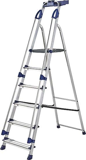 Werner 7050618 - Escalera de trabajo (6 peldaños), color plateado: Amazon.es: Bricolaje y herramientas