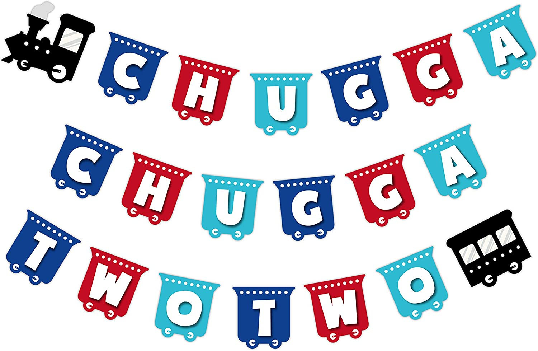 Maplelon Train Happy Birthday Banner, Chugga Chugga Two Two Party, Train Theme 2nd Bady Bunting Sign