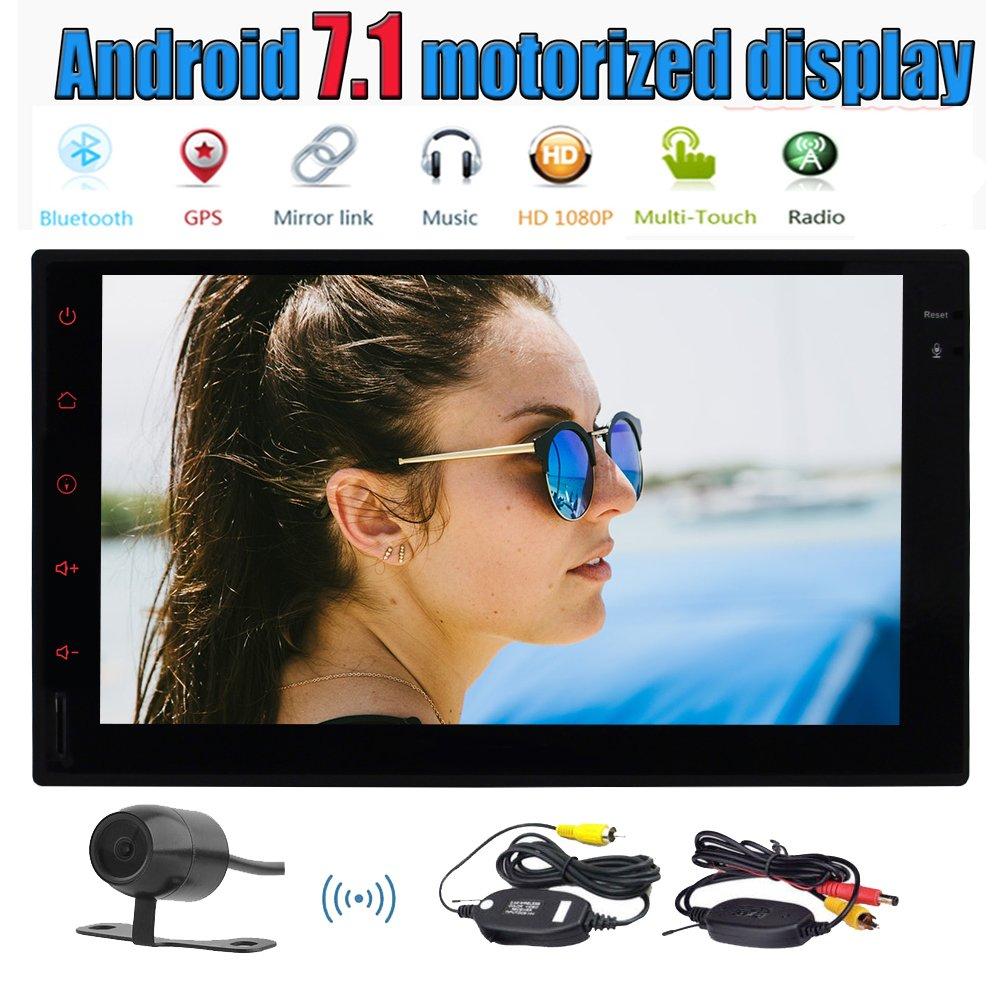 オクタコア7とAndroidの7.1ダブル2ディンカーステレオ「」静電容量式タッチダッシュGPSナビゲーションマルチメディアシステムサポートのBluetooth /無線LAN / OBD2 +無料ワイヤレスバックアップカメラでカーラジオプレーヤーを画面 B0778CTRPB