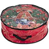 """ProPik Wreath Storage Bag Polyester Tear Resistant Fabric for Holiday Easy Storage with Clear Window Featuring Heavy Handel's and Transparent Card Slot 24"""" X 24"""" X 8"""" (Red)"""