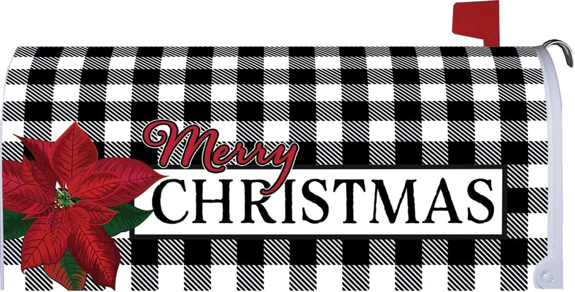 Custom Decor Gingham Christmas - Mailbox Makeover - Vinyl with Magnetic Strips for Steel Standard Rural Mailbox - Made in The USA - Copyright, Licensed and Trademarked Inc.