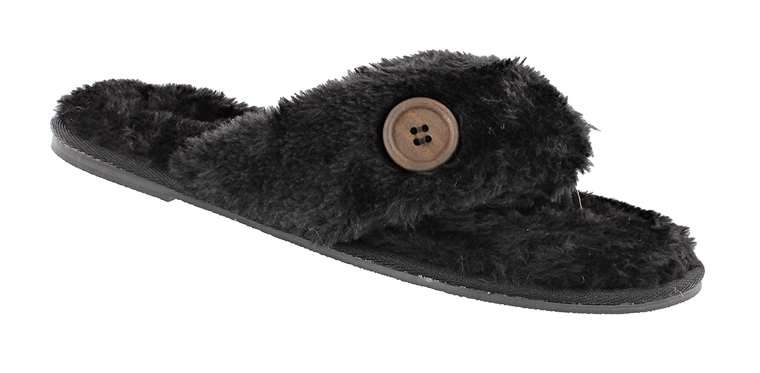 455beba1bba90 Women s Ella Warm Faux Fur Lined Memory Foam Toe Post Flip Flops Slippers   Amazon.co.uk  Shoes   Bags