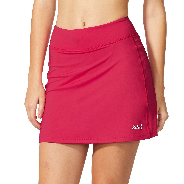 Baleaf Women's Active Athletic Skort Lightweight Skirt with Pockets for Running Tennis Golf Workout Deep Pink Size S